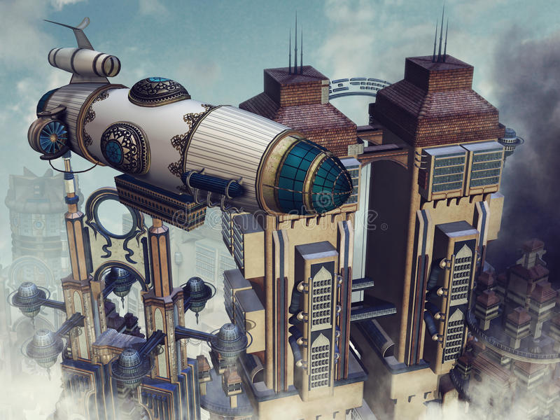 Futuristic buildings royalty free illustration