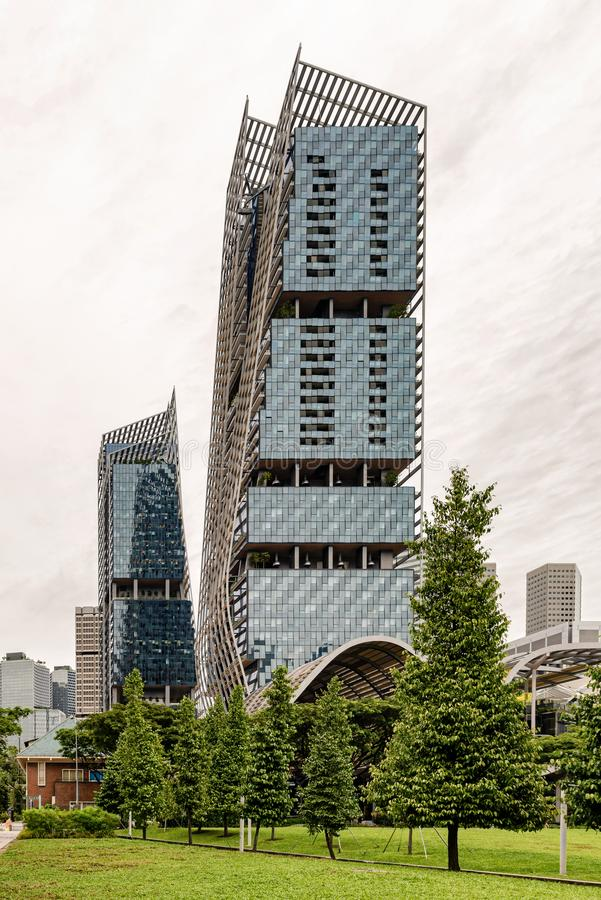 Futuristic buildings at Suntec city in Singapore. Singapore - January 14, 2018: View at the modern, futuristic architecture buildings at Suntec city in royalty free stock photos