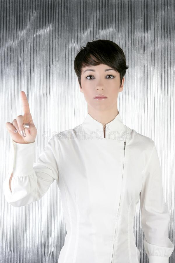 Download Futuristic Businesswoman Finger Touching Pad Royalty Free Stock Photography - Image: 14364327