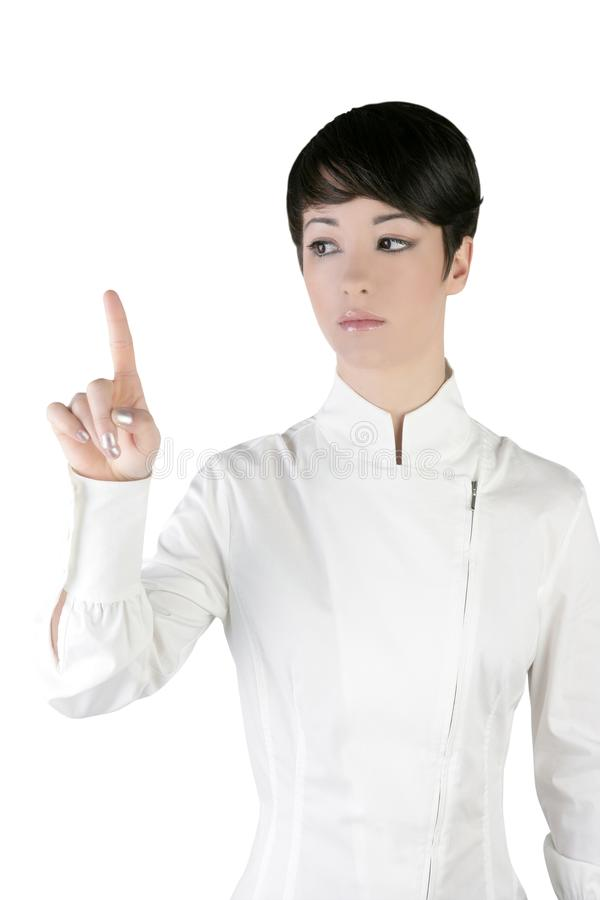 Futuristic Businesswoman Finger Touching Pad Royalty Free Stock Image