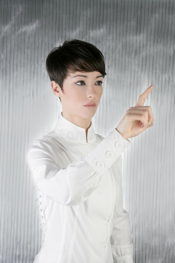 Futuristic Businesswoman Finger Touching Pad Stock Images