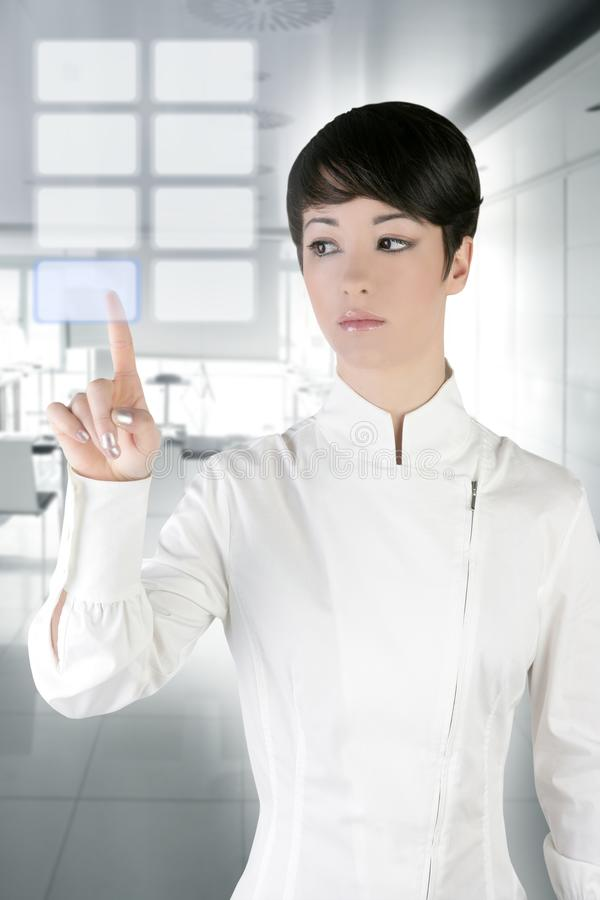 Futuristic businesswoman office finger touch pad. Futuristic businesswoman finger touch pad on modern office royalty free stock photography