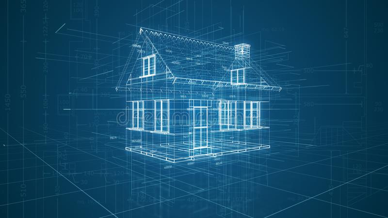 Futuristic cad software interface. Futuristic interface of a cad software, house wireframe model 3d render stock illustration