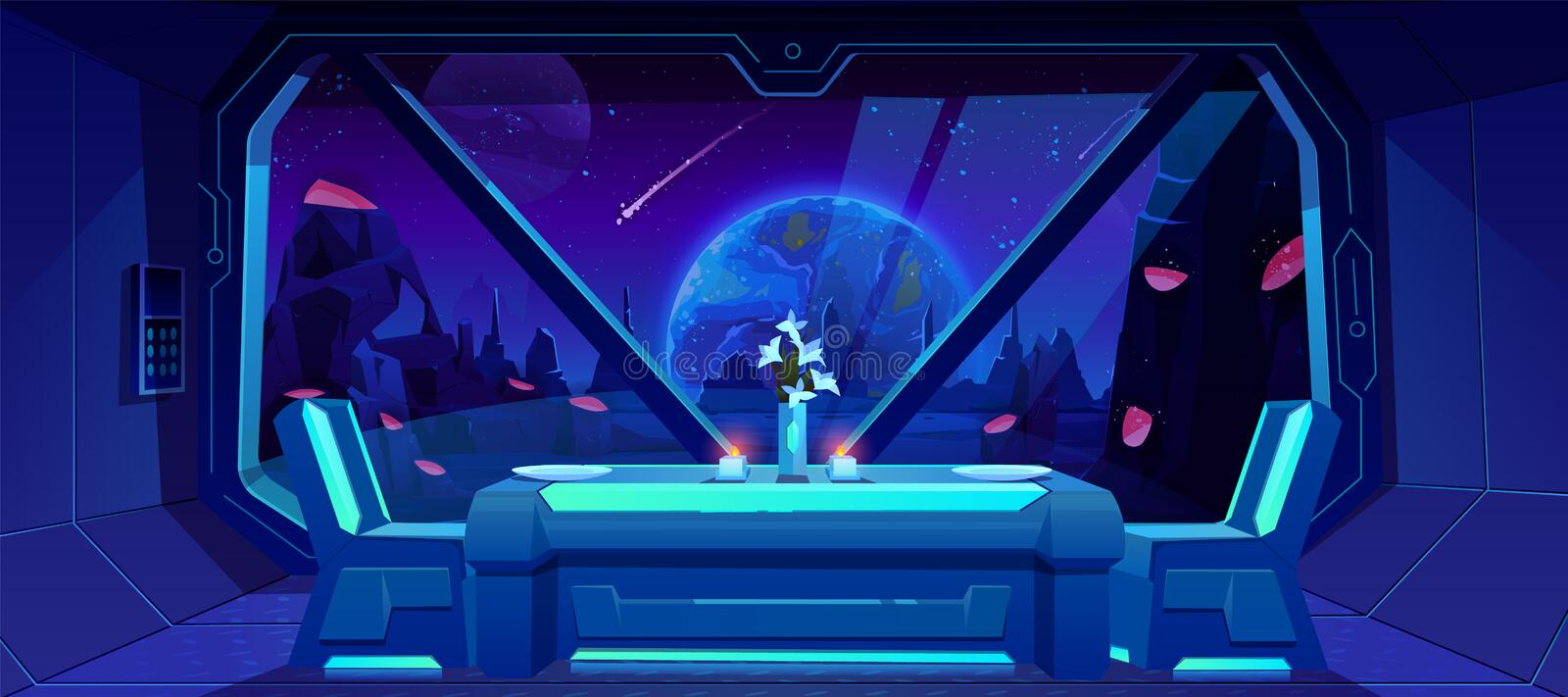 Futuristic cafe spaceship view on Earth at night. Futuristic cafe with spaceship view on Earth at night from alien planet. Served table and chairs stand at stock illustration