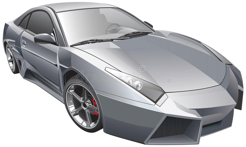 Futuristic car. Detail vector image of futuristic custom car, isolated on white background. File contains gradients and transparency. No blends and strokes vector illustration