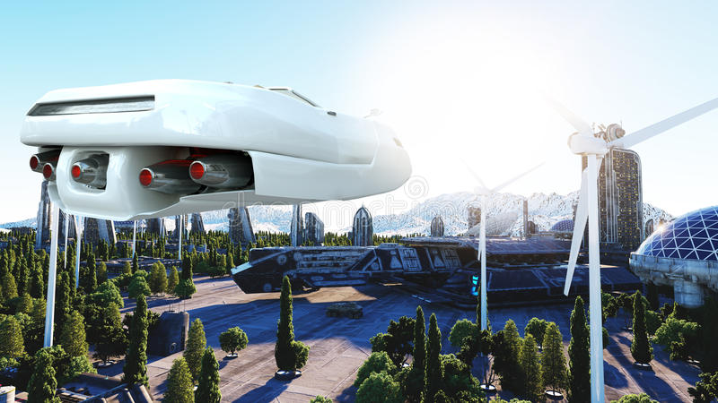 Futuristic car flying over the city, town. Transport of the future. Aerial view. 3d rendering. stock illustration