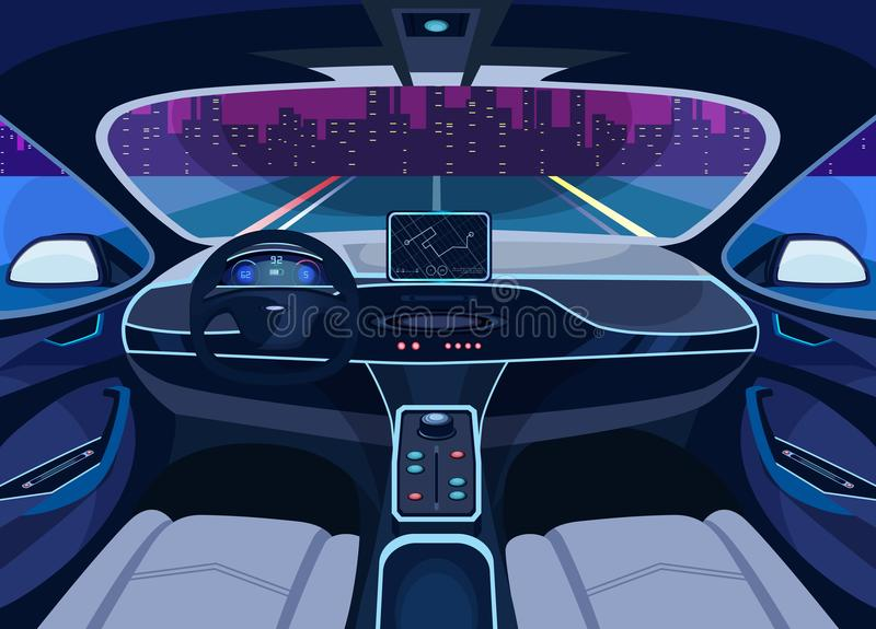Futuristic car salon with GPS, autopilot vehicle. Interior view on futuristic self-driving car on road at cityscape. Automobile on autopilot, automatic driving stock illustration