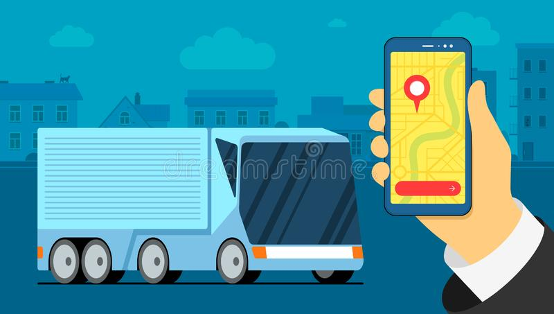 Futuristic cargo truck trailer logistic on urban city. Map navigator location point on smarthpone screen. Business vector illustration