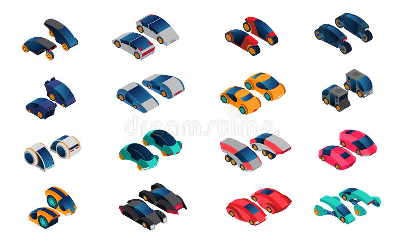 Futuristic Cars Isometric Icons Set stock illustration