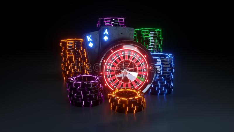 Futuristic Casino BlackJack Concept - 3D Illustration. Casino Gambling Futuristic Concept, Roulette Wheel and Poker Chips 3D Illustration on the Black Background royalty free illustration