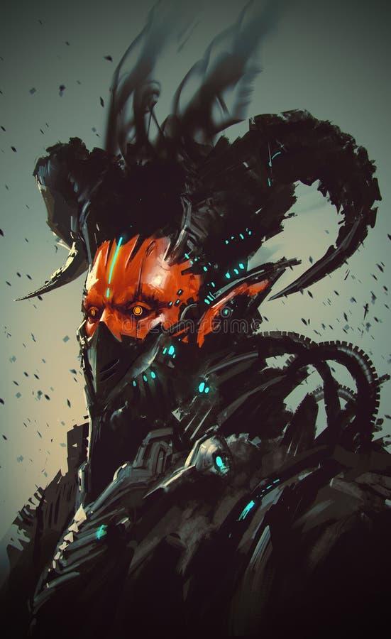 Futuristic character,robotic demon royalty free illustration