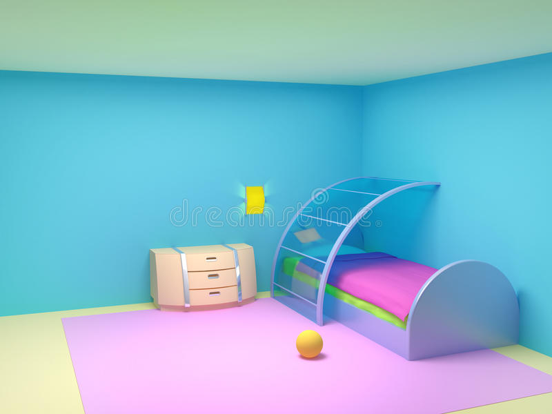 Futuristic child bedroom royalty free illustration