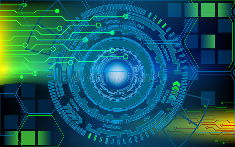 futuristic circles hud with lines and scheme vector Circuit Letters Background Blue Abstract Circuit Background
