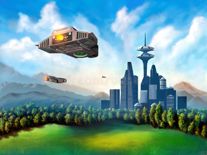 Futuristic city. Space ships travelling to a futuristic city. Mixed media illustration