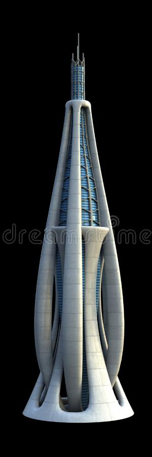 Futuristic city architecture. 3D illustration of futuristic city architecture of a skyscraper with the isolation work path included in the file, for science royalty free illustration