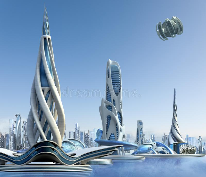 Futuristic city architecture. 3D futuristic city with a marina skyline and organic high-rise architecture, for fantasy and science fiction illustrations stock illustration