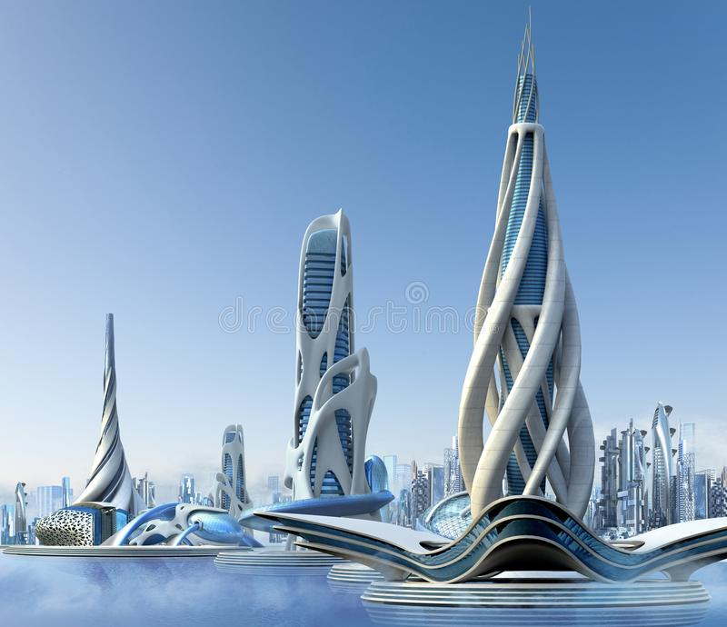 Futuristic city architecture. 3D futuristic city with a marina skyline and organic high-rise architecture, for fantasy and science fiction illustrations vector illustration