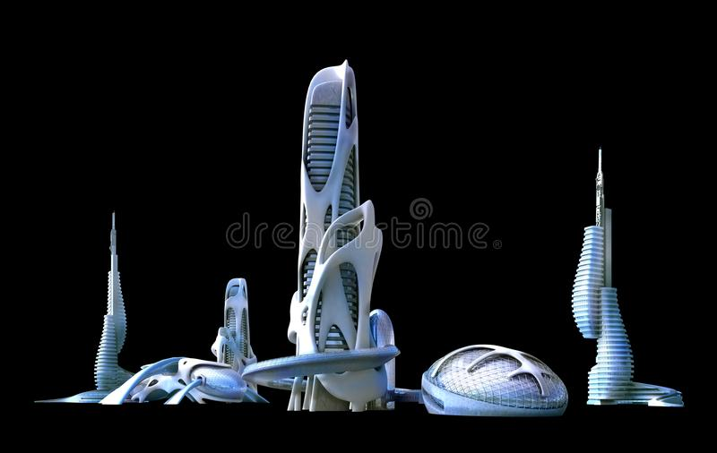Futuristic city architecture for fantasy and science fiction ill royalty free illustration