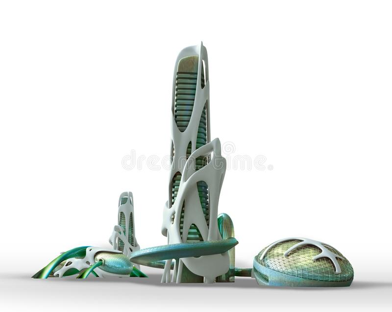 Futuristic city architecture for fantasy and science fiction ill. 3D futuristic sci fi city architecture with organic skyscrapers and buildings on white, with vector illustration