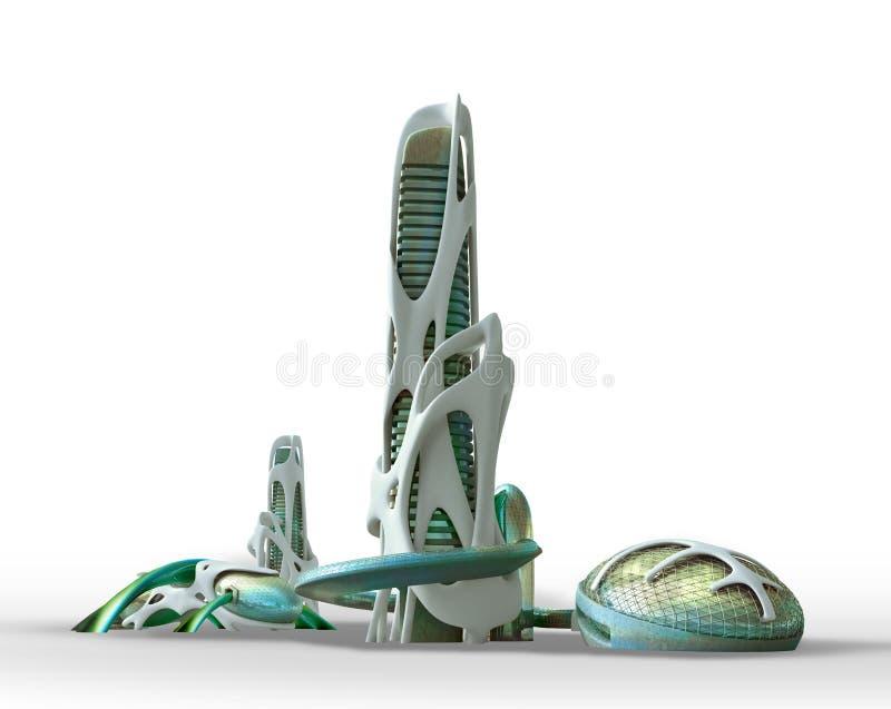 Futuristic city architecture for fantasy and science fiction ill vector illustration
