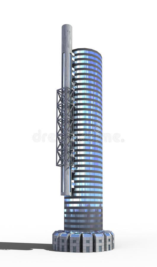 Futuristic city architecture. Of office building with the isolation work path included in the jpg file, for science fiction or fantasy backgrounds royalty free illustration