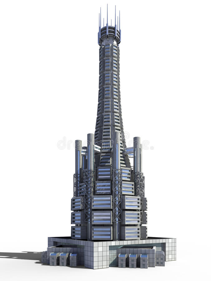 Futuristic city architecture. Of skyscraper with the isolation work path included in the jpg file, for science fiction or fantasy backgrounds vector illustration