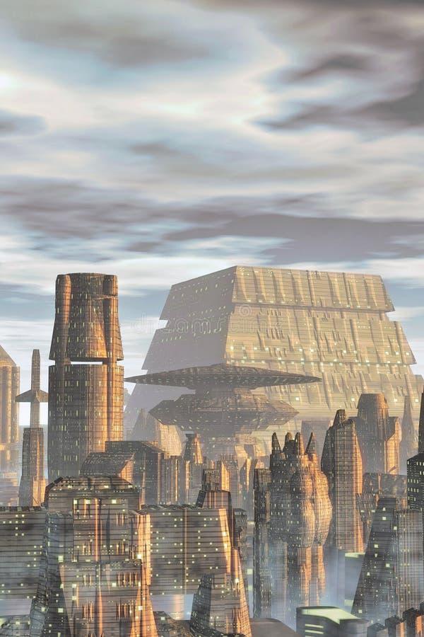Download Futuristic city background stock illustration. Illustration of cityscape - 24171631