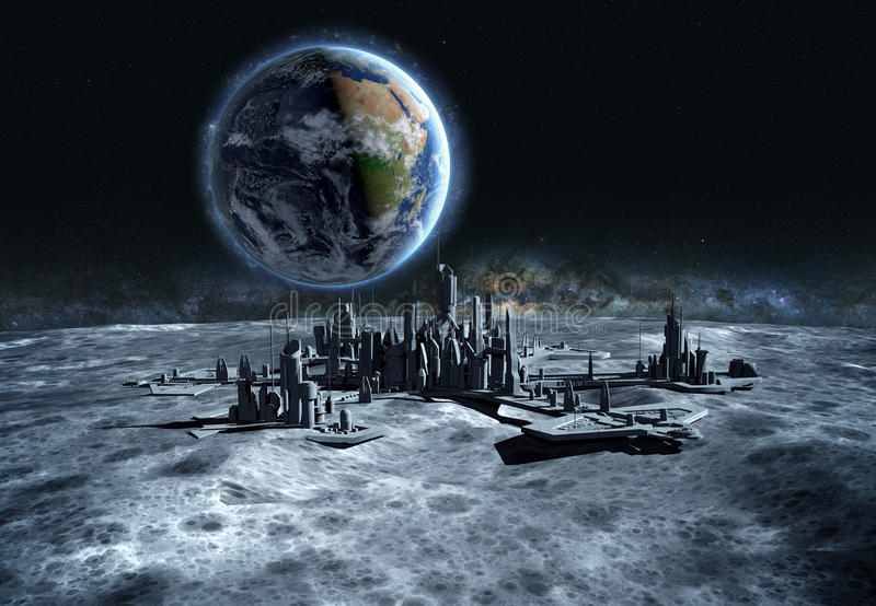 Futuristic city, base, town on moon. The space view of the planet earth. expedition. 3d rendering royalty free illustration