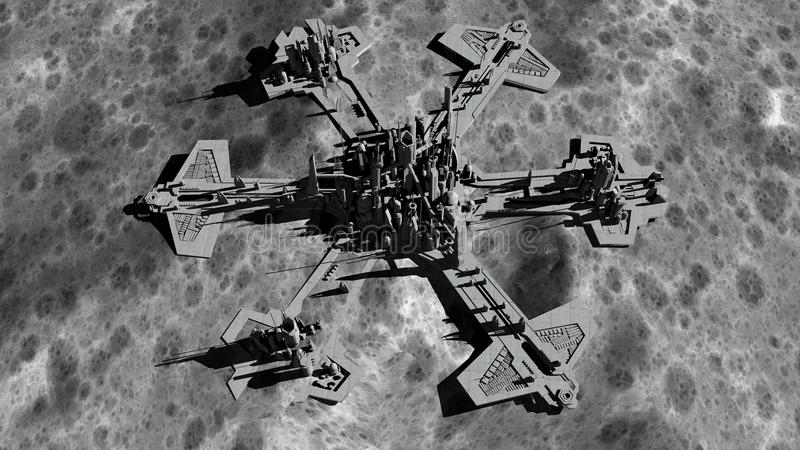 Futuristic city, base, town on moon. The space view of the planet earth. expedition. 3d rendering vector illustration