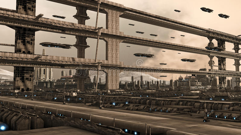 Futuristic city. Concept and spaceships vector illustration