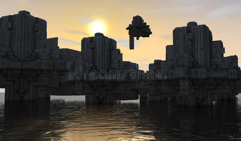 Download Futuristic city stock illustration. Image of planet, ships - 33465549