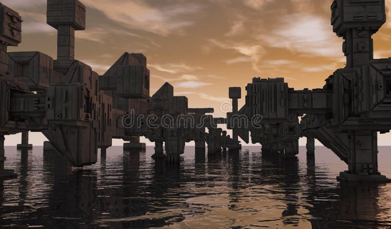 Download Futuristic city stock illustration. Illustration of city - 33465550