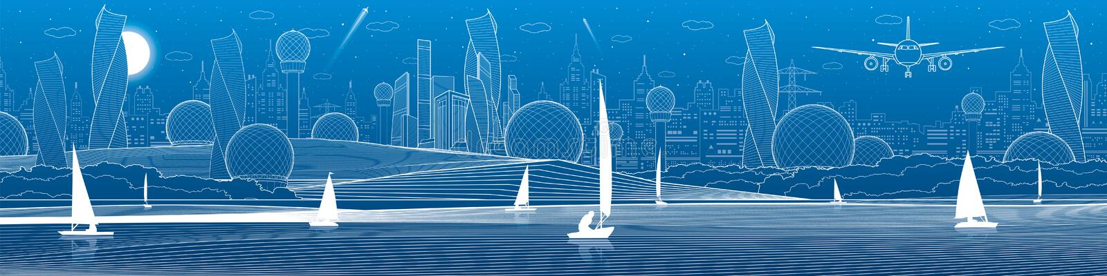 Futuristic City infrastructure panoramic illustration. Airplane fly. Night town at background. Sailing yachts on water. White line vector illustration