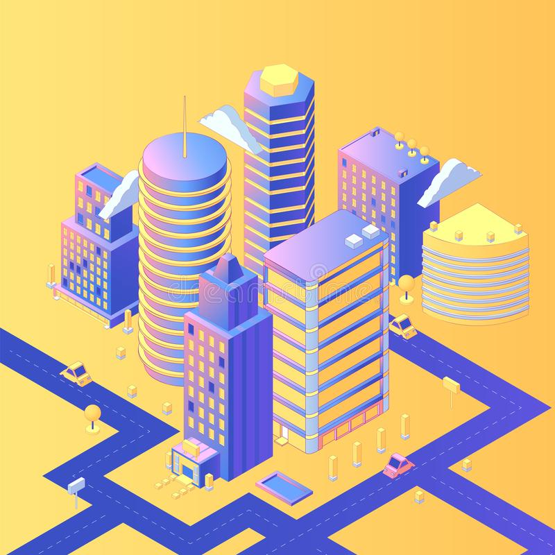 Futuristic city isometric vector illustration. 3d skyscrapers, residential area with roads, streets, cars, infrastructure. Housing estate, realistic urban vector illustration