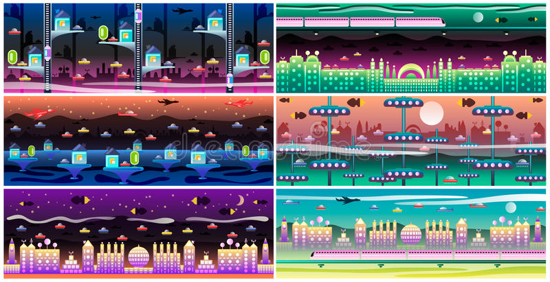 Futuristic city landscape set royalty free illustration