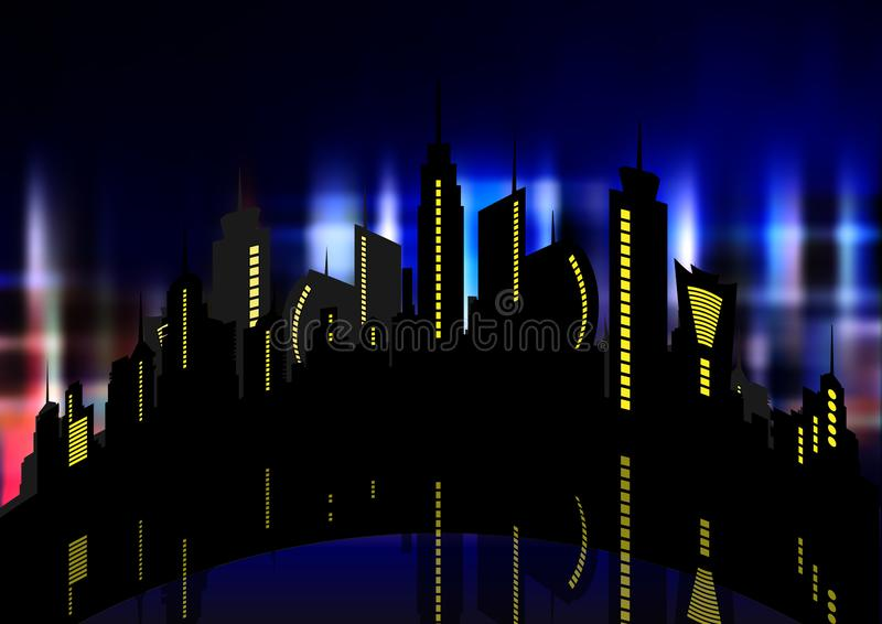 Futuristic city in neon lights. Retro Style 80s. Energy concept. Creative idea. Design background, colorful Night City Skyline. Cityscape , Beautiful night stock illustration