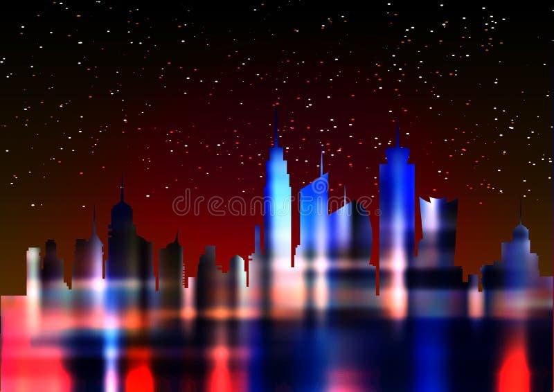 Futuristic city in neon lights. Retro Style 80s. Energy concept. Creative idea. Design background, colorful Night City Skyline royalty free illustration