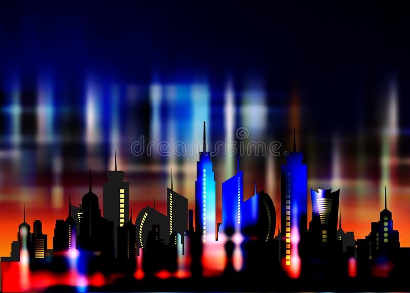 Futuristic city in neon lights. Retro Style 80s. Energy concept. Creative idea. Design background, colorful Night City Skyline. Cityscape , Beautiful night royalty free illustration