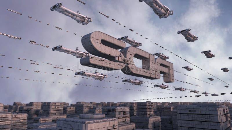 Download Futuristic city SCIFI stock illustration. Image of technology - 33465683