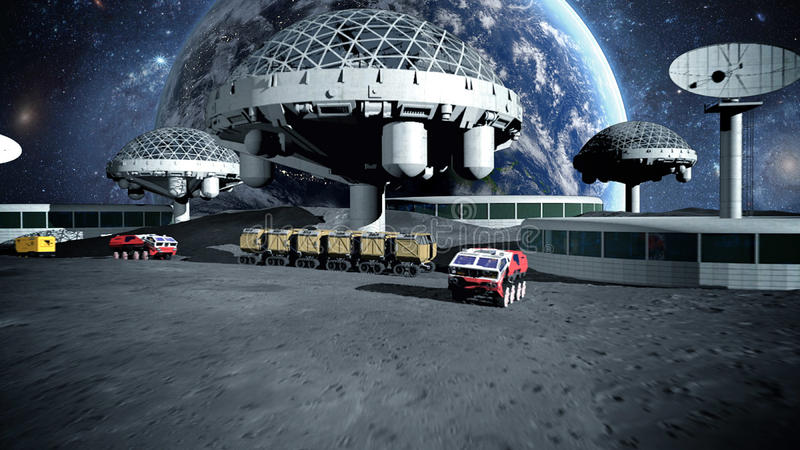 Futuristic city, town on moon. The space view of the planet earth. 3d rendering royalty free illustration