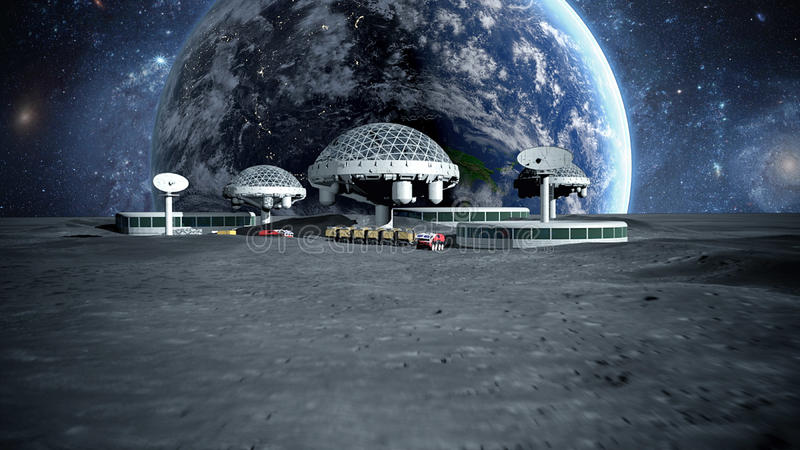 Futuristic city, town on moon. The space view of the planet earth. 3d rendering stock illustration
