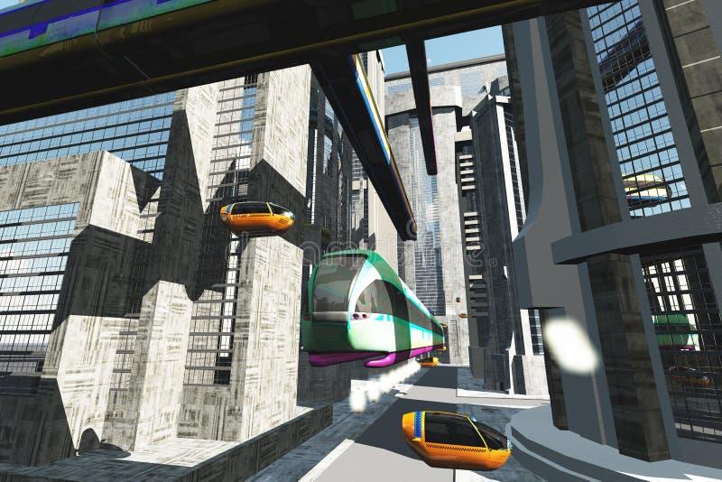 Futuristic City Transportation 4. Futuristic City Buildings and Transportation stock illustration