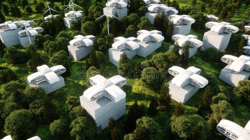 Futuristic city, village. The concept of the future. Aerial view. 3d rendering. Futuristic city, village. The concept of the future. Aerial view. 3d rendering vector illustration