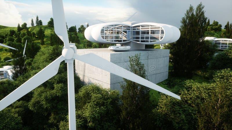 Futuristic city, village. The concept of the future. Aerial view. 3d rendering. Futuristic city, village. The concept of the future. Aerial view. 3d rendering stock illustration