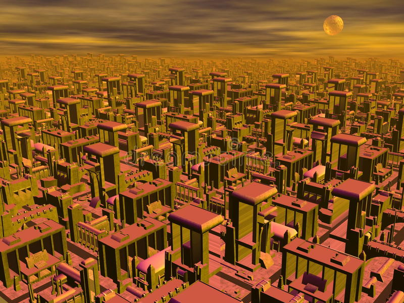 Futuristic cityscape - 3D render. Big futuristic cityscape by night with full moon vector illustration