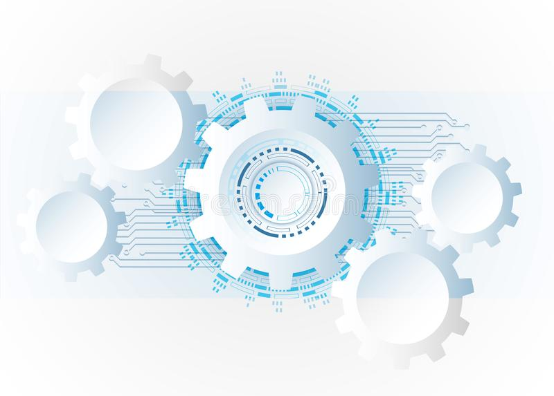 Futuristic clean technology concept, white paper gear wheel tec. Hnology circuit board. hi-tech, engineering , white-blue background royalty free illustration