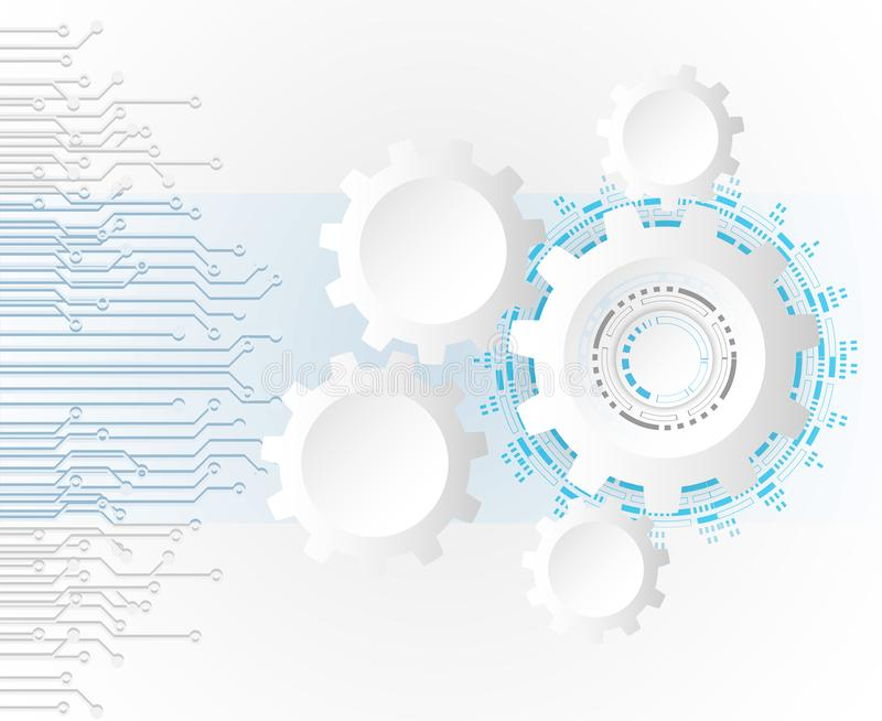 Futuristic clean technology concept, white paper gear wheel tec. Hnology circuit board. hi-tech, engineering , white-blue background vector illustration