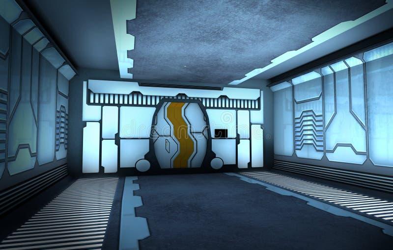 Futuristic corridor. Futuristic spaceship interior with closed door royalty free illustration