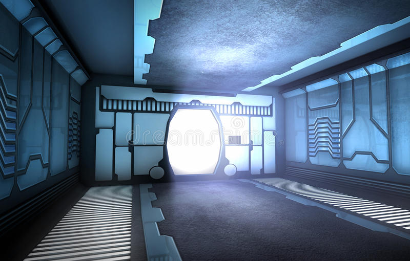 Futuristic corridor. Futuristic spaceship interior with open door vector illustration