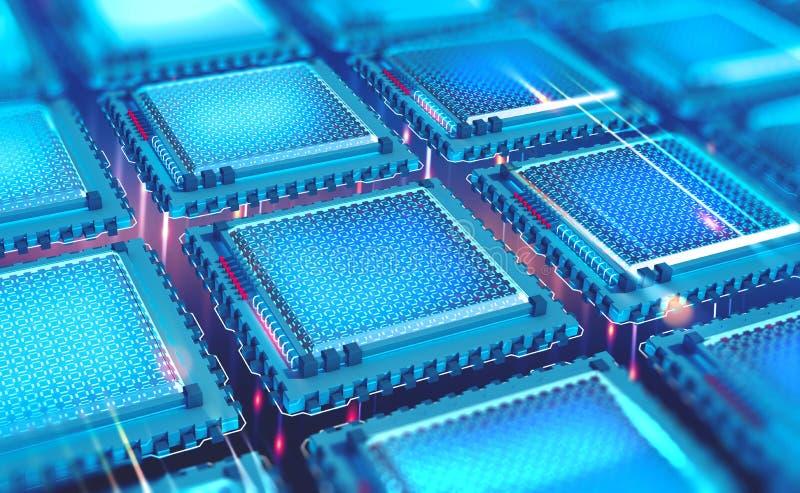 Futuristic CPU. Quantum processor in the global computer network. 3d illustration of digital cyber space vector illustration